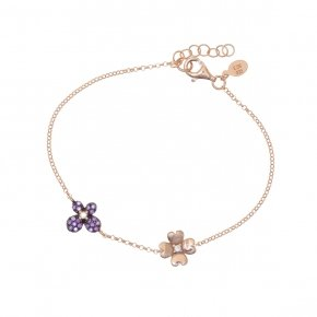 Bracelet silver 925, pink gold plated and purple zirconia - Manolia
