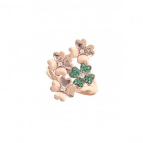 Ring silver 925 pink gold plated and green zirconia - Manolia