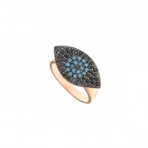 Ring Silver 925 pink gold plated with black and turqoise zirconia - Fantasia