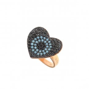 Ring silver 925 pink gold plated, black spinels and turquoise stones - Fantasia