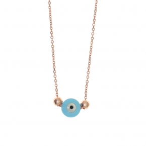 Necklace silver 925 lenght 40 cm (with extra 5cm exte), pink gold plated with turquoise evil eye - Fildisi