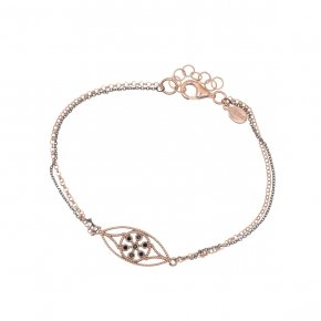 Bracelet silver 925 pink gold plated and black zirconia - Pathos