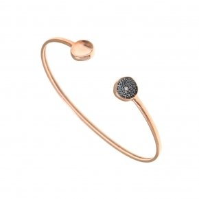 Bracelet silver 925 pink gold plated & with black spinels - Votsalo