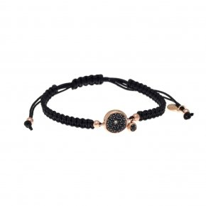 Bracelet silver 925, pink gold plated, black cord and black zirconia - Votsalo