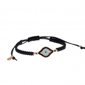 Bracelet silver 925 with black cord (macrame), pink gold plated, enamel and white zirconia - Aura