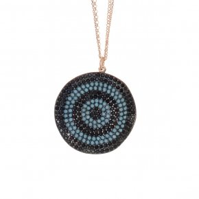 Necklace silver 925 long lenght 90 cm with double chain , onyx , pink gold plated, black spinels and turquoise stones - Fantasia