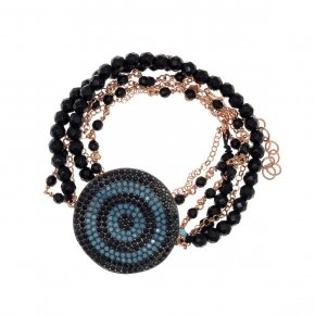 "Bracelet silver 925 double, lenght 35 cm (with extra 4cm exte), pink gold plated, black spinels and turquoise stones, can be worn as a ""choker"" - Fantasia"