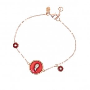 Bracelet silver 925 lenght 16,5 cm (with extra 2cm exte), pink gold plated, white zirconia and enamel - Aroma