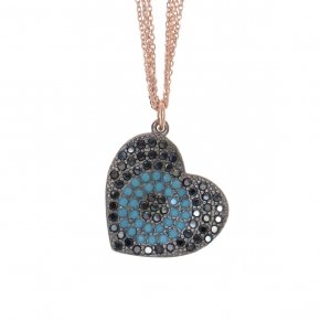 Necklace silver 925 lenght 40 cm (with extra 5cm exte), multiple chain, pink gold plated, black spinels and turquoise stones - Fantasia