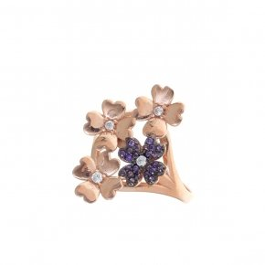 Ring silver 925 pink gold plated and purple zirconia - Manolia