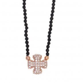 Necklace silver 925 lenght 40 cm onyx (with extra 5cm exte) pink gold plated and white zirconia - Eumelia