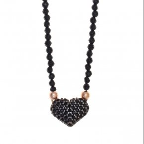 Necklace silver 925 lenght 40 cm nyx (with extra 5cm exte) pink gold plated and black spinels - Eumelia