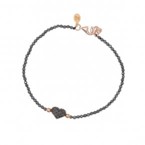 Bracelet silver 925 lenght 16,5 cm hematite (with extra 2cm exte), pink gold plated and black spinels - Eumelia