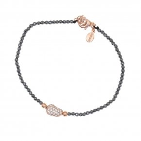 Bracelet silver 925 lenght 16,5 cm hematite (with extra 2cm exte), pink gold plated and white zirconia - Eumelia