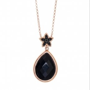 Necklace silver 925 lenght 40 cm (with extra 5cm exte), pink gold plated, black spinels and black crystal - Artemis