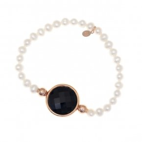 Bracelet silver 925 pink gold plated,fresh water pearl and black crystal - LITHOS