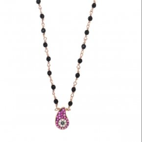 Necklace silver 925 lenght 40 cm (with extra 5cm exte), with onyx and red zirconia - Irida