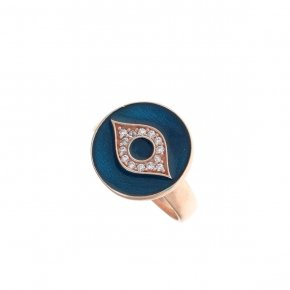 Ring silver 925 pink gold plated, enamel and white zirconia - Aura