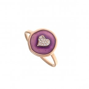 Ring silver 925 pink gold plated, white zirconia and enamel - Aroma