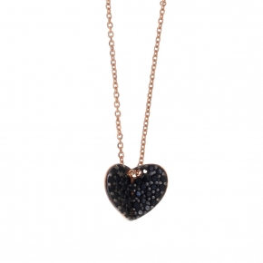 Necklace in silver 925 pink gold plated with black spinel - Iris