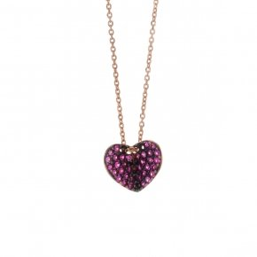 Necklace in silver 925 pink gold plated with red zirconia - Iris