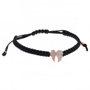 Bracelet silver 925 with black cord macrame, pink gold plated and white zirconia - Iris