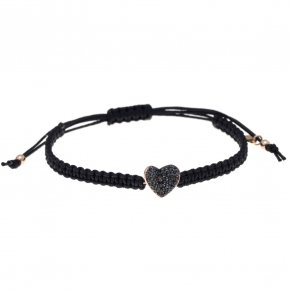 Cord Bracelet in silver 925, pink gold plated with blackspinel - Iris
