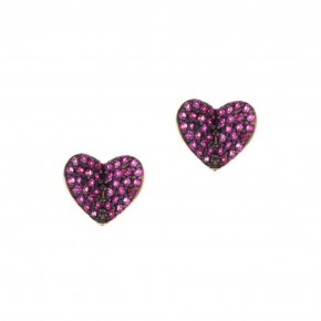 Earrings in silver 925 pink gold plated with red zirconia - Iris