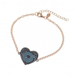Bracelet silver 925 lenght 16,5 cm (with extra 2cm exte), pink gold plated, black spinels and turquoise stones - Fantasia
