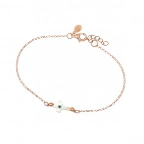 Bracelet silver 925 lenght 16,5 cm (with extra 2cm exte), pink gold plated and evil eyecross - Fildisi