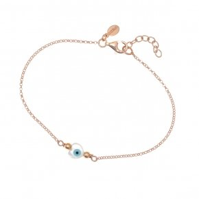 Bracelet silver 925 lenght 16,5 cm (with extra 2cm exte), pink gold plated and evil eye-shaped heart - Fildisi
