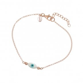 Bracelet silver 925 lenght 16,5 cm (with extra 2cm exte), pink gold plated and evil eye - Fildisi