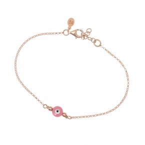 Bracelet silver 925 lenght 16,5 cm (with extra 2cm exte), pink gold plated and pink evil eye - Fildisi
