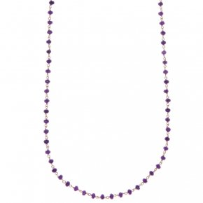Necklace silver 925, with lenght 80 cm, pink gold plated and purple crystals - Rosario