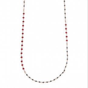 Necklace silver 925, with lenght 80 cm, pink gold plated, red crystals and hematite - Rosario