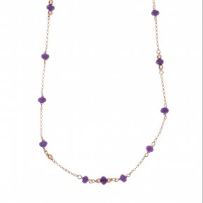 Necklace silver 925, with lenght 45 cm, pink gold plated and purple crystals - Rosario