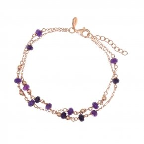 Bracelet silver 925, pink gold plated and purple crystals - Rosario