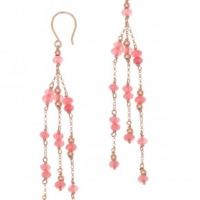 Earrings silver 925 pink gold plated and fuchsia crystals - Rosario