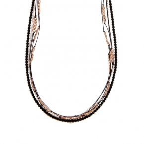 Necklace silver 925 with lenght 85 cm, pink gold plated and onyx - Outopia