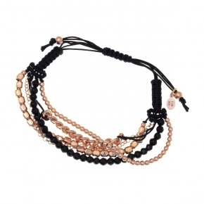 Bracelet silver 925, pink gold plated, onyx and cord - Outopia