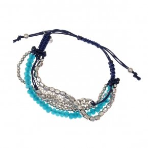 Bracelet silver 925, with blue crystals and cord - Outopia