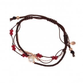 Bracelet silver 925, pink gold plated, red crystals and cord - Outopia