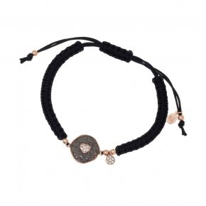 Bracelet silver 925 with black cord, pink gold plated, black rhodium and white zirconia - Daphne