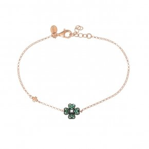 Bracelet silver 925, pink gold plated and green zirconia - Manolia