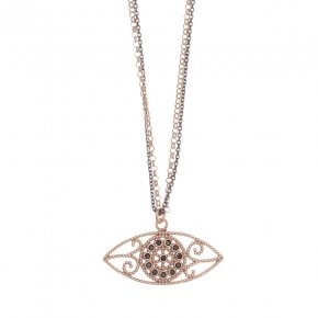 Necklace silver 925, 40 cm (with 5cm exte), pink gold plated and black zirconia - Pathos