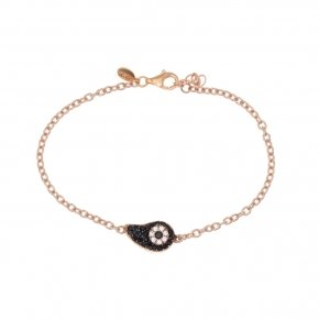 Bracelet silver 925 lenght 16,5 cm (with extra 2cm exte), pink gold plated and black spinels - Irida