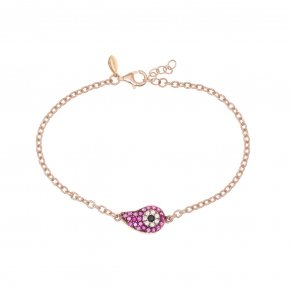 Bracelet silver 925 lenght 16,5 cm (with extra 2cm exte), pink gold plated and red zirconia - Irida