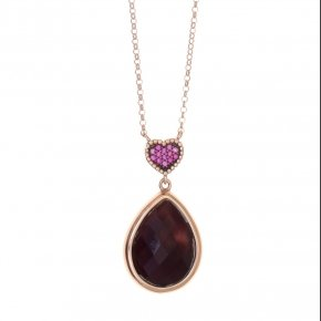 Necklace silver 925 lenght 40 cm (with extra 5cm exte), pink gold plated, red zirconia and purple crystal - Artemis