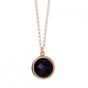 Necklace silver 925 lenght 40 cm  pink gold plated and black crystal - LITHOS