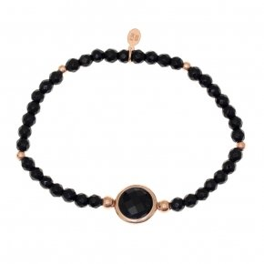 Bracelet silver 925 pink gold plated, onyx and black crystal - LITHOS